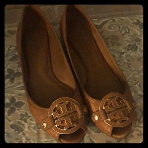 Tory Burch brown peep toe wedge